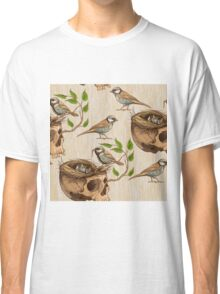 black and white illustration of birds making a nest in animal skull Classic T-Shirt