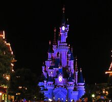 Disneyland Paris Castle at Night by ciarapowell