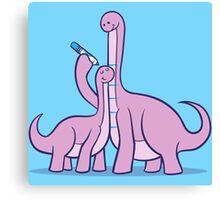 Dinosaur Growth Chart (Pink Dinos) Canvas Print