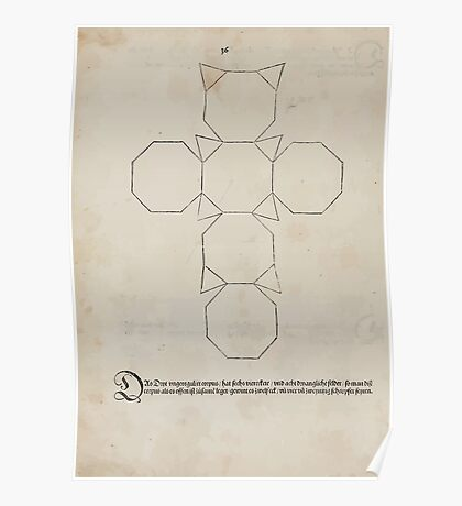 Measurement With Compass Line Leveling Albrecht Dürer or Durer 1525 0150 Repeating and Folding Shapes Poster