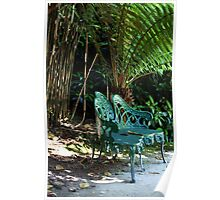 Places to sit - cool bench, Lost Gardens of Heligan Poster
