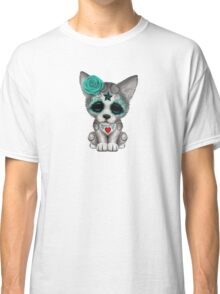 Blue Day of the Dead Sugar Skull Wolf Cub Classic T-Shirt