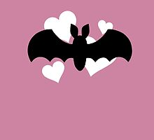 Bat and Hearts on Pink by DeliriumLina