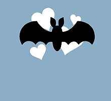 Bat and Hearts on Blue by DeliriumLina
