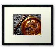 Time piece and suede Framed Print
