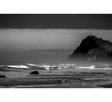 Rocky headland on the Pacific Coast - BW Photographic Print
