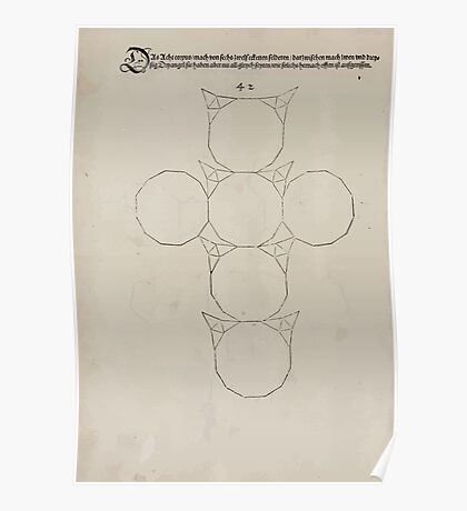 Measurement With Compass Line Leveling Albrecht Dürer or Durer 1525 0156 Repeating and Folding Shapes Poster