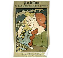 Poster 1890s Francois Laskowski Ausstellung Straßburg 1895 Poster