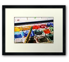 Watercolour Paints and Brush Framed Print