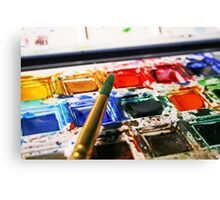 Watercolour Paints and Brush Canvas Print