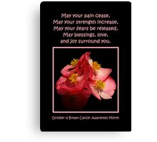 October Is Breast Cancer Awareness Month Canvas Print
