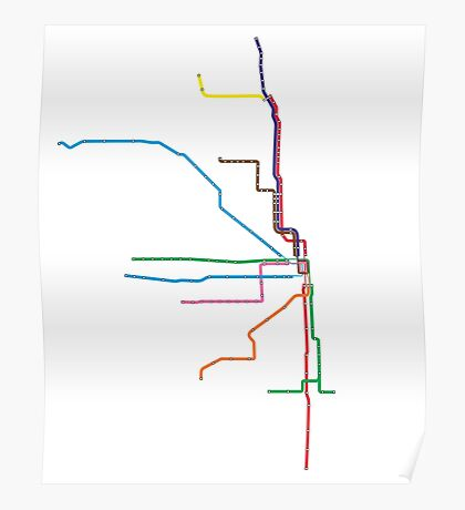 """Chicago """"L"""" Map Poster"""