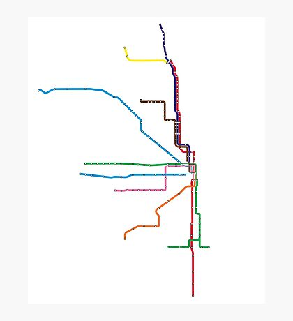 "Chicago ""L"" Map Photographic Print"