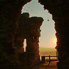 Sun Setting over Denbigh Castle, North Wales, UK by AnnDixon