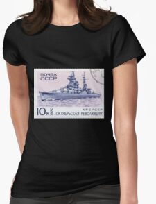 The Soviet Union 1970 CPA 3911 stamp Cruiser Oktyabrskaya Revolyutsia cancelled USSR Womens Fitted T-Shirt