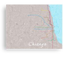 Watercolor Chicago L map Canvas Print
