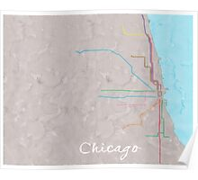 Watercolor Chicago L map Poster