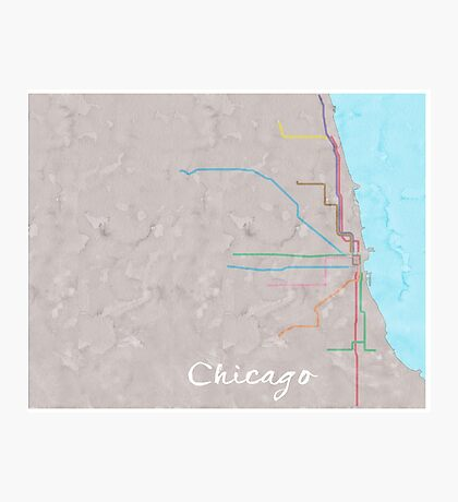 Watercolor Chicago L map Photographic Print