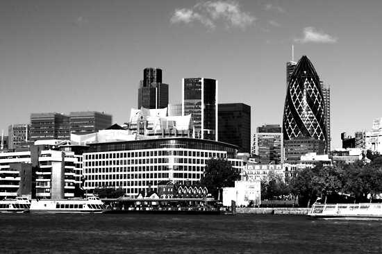 """""""City of London Skyline in Black and white"""" by Chris Day ... 