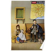 Poster 1890s Boy and girl in SLSF waiting room 1899 Poster