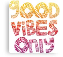 Good Vibes Only Sunset Doodle Canvas Print