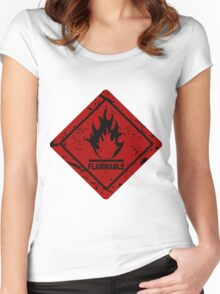 Flammable warning symbol Women's Fitted Scoop T-Shirt