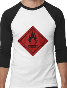 Flammable warning symbol Men's Baseball ¾ T-Shirt
