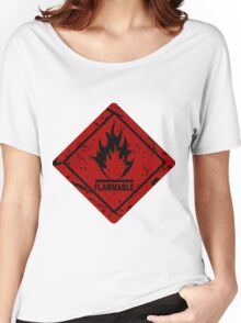 Flammable warning symbol Women's Relaxed Fit T-Shirt