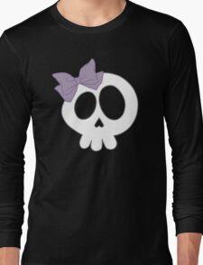 Bow Skull Purple Long Sleeve T-Shirt