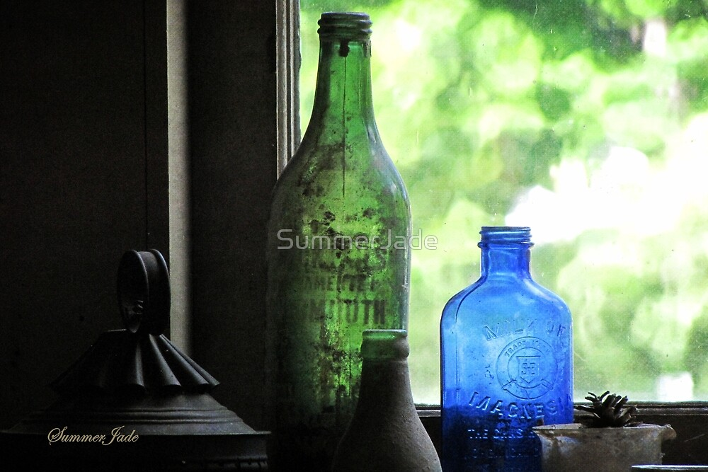 Old Bottles in an Artist's Studio Window by SummerJade