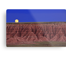Harvest Moon Over The Badlands-Badlands National Park, SD Metal Print