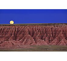 Harvest Moon Over The Badlands-Badlands National Park, SD Photographic Print