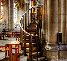 Stairs to the Pulpit at Ripon Cathedral by Christine Smith