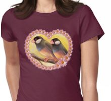 Java Sparrow finches realistic painting Womens Fitted T-Shirt