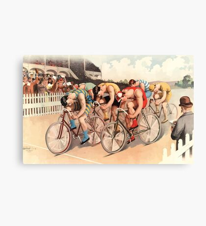 Poster 1890s Bicycle race scene 1895 Canvas Print