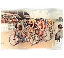 Poster 1890s Bicycle race scene 1895 Poster