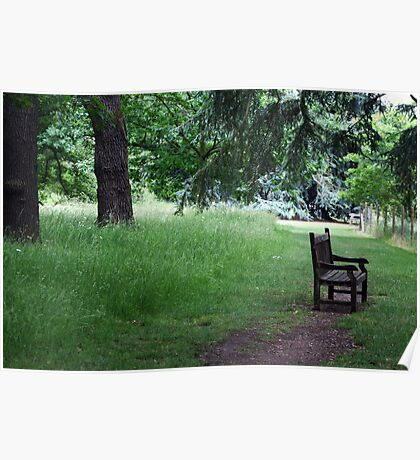 Bench by the River Thames, Kew Gardens Poster