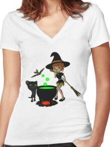 Cauldron Witch Shirts & Stickers Women's Fitted V-Neck T-Shirt