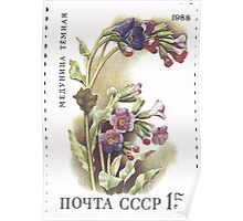 Flowers Soviet Union stamp series 1988 CPA 5967 USSR Poster