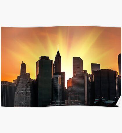 Sunset in New York City Poster