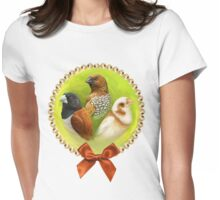 Munia finches realistic painting Womens Fitted T-Shirt
