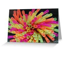 colourfull straws 'birthday treats. Greeting Card