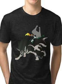 Wolf Link and Midna - Vector Art Tri-blend T-Shirt