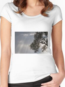 cloudy sky on the hilly Women's Fitted Scoop T-Shirt