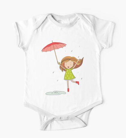 Little girl with an umbrella One Piece - Short Sleeve