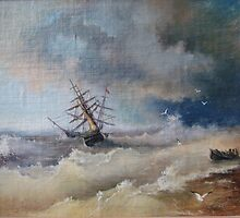 """""""After The Storm"""". The copy  from picture of   Aivazovsky by Alla Melnichenko"""