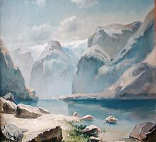 """Lake In The Mountains Of Switzerland"".The copy  from picture of Savrasov   by Alla Melnichenko"