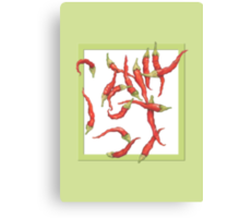 Red Hot Chillies green Canvas Print