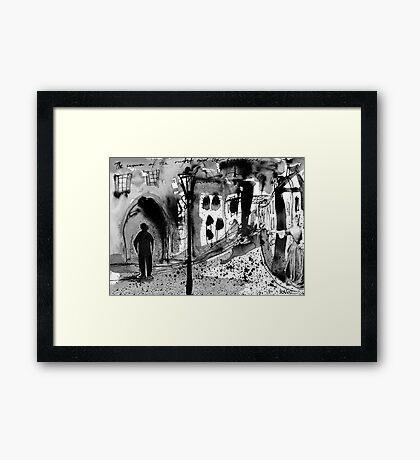 mysterious street scenario Framed Print