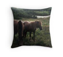 Assateague Ponies Throw Pillow